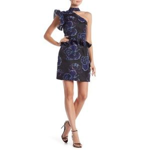 Nicole Miller Ruffle Sleeve One-Shoulder Dress Sz8